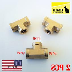 1/4 NPT Female Pipe Tee 3 Way Brass Fitting Fuel Air Water O