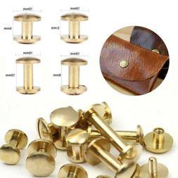 10 Arc Belt Screw Leather Craft Chicago Nail Brass Solid Riv