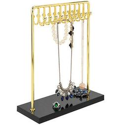 MyGift 20 Hook Brass Metal Necklace Jewelry Display Rack wit