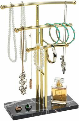 MyGift 3 Tier Brass Metal and Black Marble Curved Tabletop T
