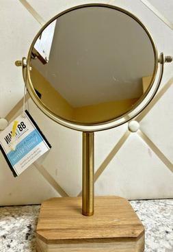 Acacia and Soft Brass Vanity Makeup Mirror. 7.9 In W. 4.1 In