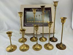 """Brass Candle Stick Holder Collection Set of 9 Taper 12"""" to 5"""