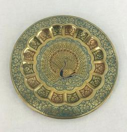 Brass Decorative Wall Plate From India Features A Peacock