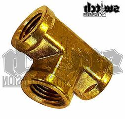 Brass Pipe Fitting 1/4 NPT Female Tee 3 Way Equal Forged Con
