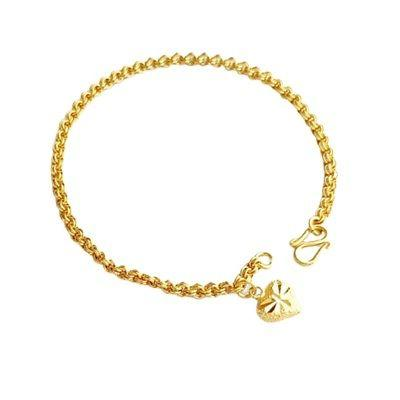 2pieces bracelet 7 inch gold plated heart