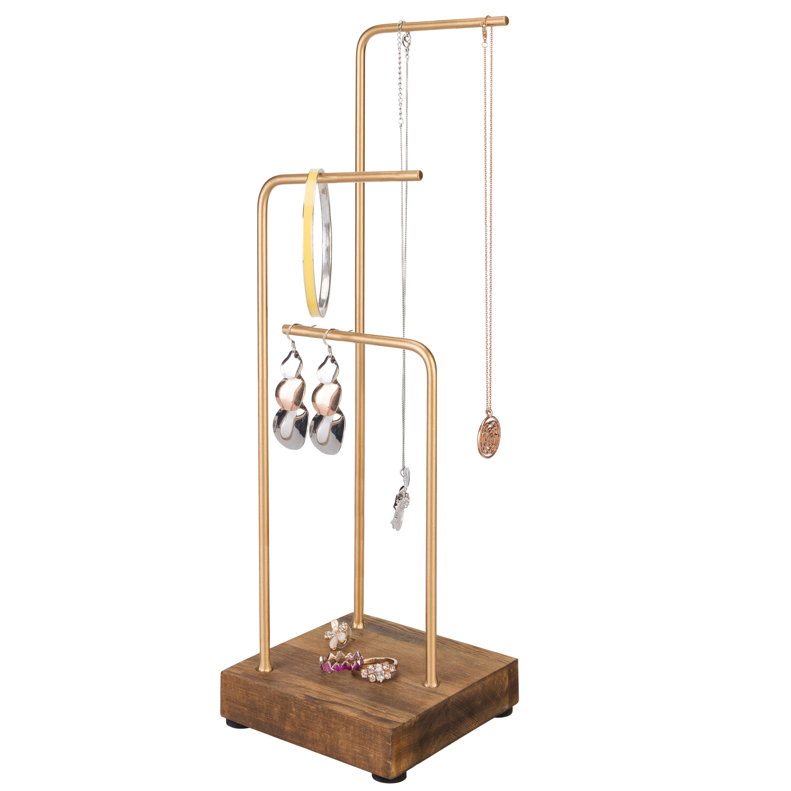 3 tier brass tone metal and rustic