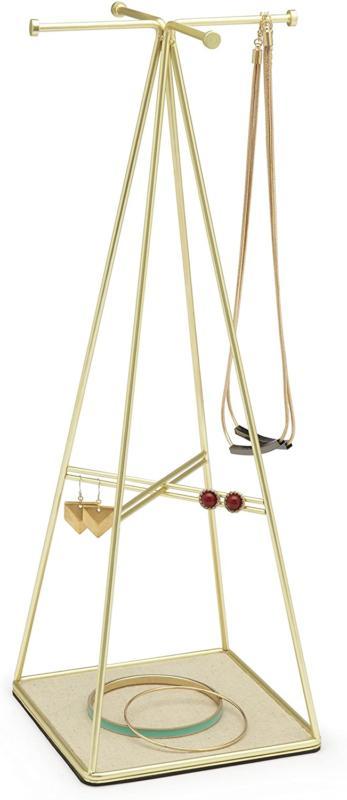 prisma jewelry stand and necklace holder brass