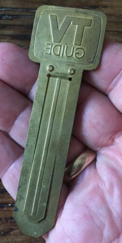 Vintage Collectible Brass Tone TV GUIDE Thin Metal Book Mark