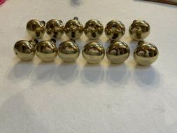 """Lot Of 12 Polished Brass Gold 1 1/4"""" Round Cabinet Drawer"""