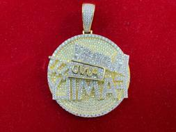 """Men's 14K Gold Finish Two Tone 3D """"Money AND Family"""" BIG"""