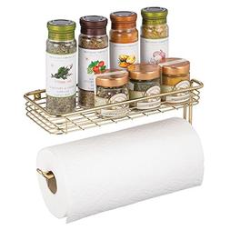 mDesign Metal Paper Towel Holder with Spice Rack and Multi-P
