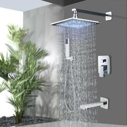 Chrome Finish 8 inch LED Shower Faucet with Hand Shower Tub