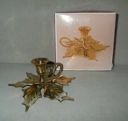 Solid Brass Poinsettia Taper Candle Holder for World Bazaars