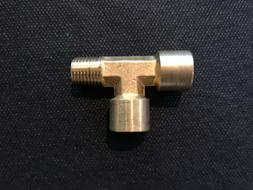 """Street Tee Brass Fitting Forged 1/4"""" NPT Male Female, Fuel,"""