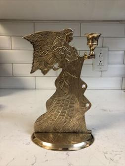 """Vintage Brass Angel Taper Candle Holder 9"""" Tall Guardian A"""