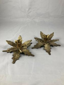 Vintage Holiday Brass Taper Candlestick Holder Set-Poinsetti